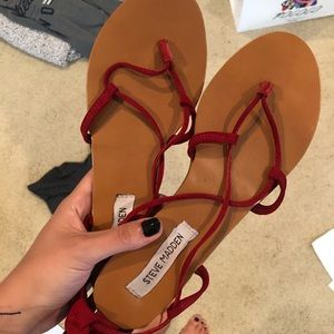 Steve Madden Red Laceup Sandals
